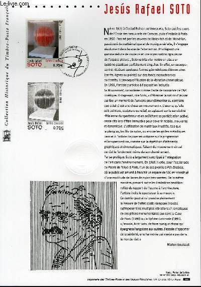DOCUMENT PHILATELIQUE OFFICIEL - JESUS RAFAEL SOTO (N°3535 YVERT ET TELLIER)