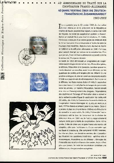 DOCUMENT PHILATELIQUE OFFICIEL - 40° ANNIVERSAIRE DU TRAITE SUR LA COOPERATION FRANCO-ALLEMANDE 1963-2003 (N°3542 YVERT ET TELLIER)