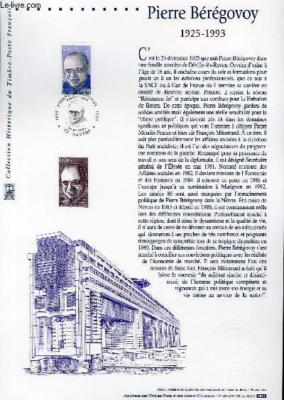 DOCUMENT PHILATELIQUE OFFICIEL - PIERRE BEREGOVOY 1925-1993 (N�3553 YVERT ET TELLIER)