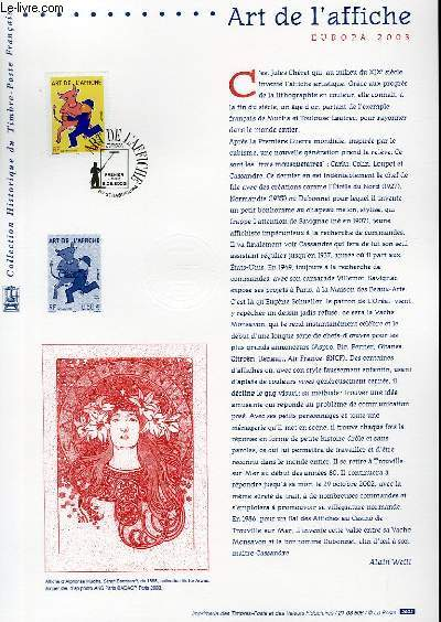 DOCUMENT PHILATELIQUE OFFICIEL - ART DE L'AFFICHE - EUROPA 2003 (N°3356 YVERT ET TELLIER)