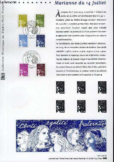 DOCUMENT PHILATELIQUE OFFICIEL - MARIANNE DU 14 JUILLET (N°3570-3575 YVERT ET TELLIER)