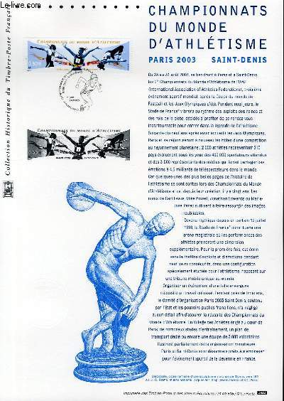 DOCUMENT PHILATELIQUE OFFICIEL - CHAMPIONNATS DU MONDE D'ATHLETISME PARIS 2003 SAINT DENIS (N�3587 YVERT ET TELLIER)
