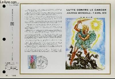 FEUILLET ARTISTIQUE PHILATELIQUE - CEF - N° 130 - LUTTE CONTRE LE CANCER - JOURNEE MONDIALE - 7 AVRIL 1970