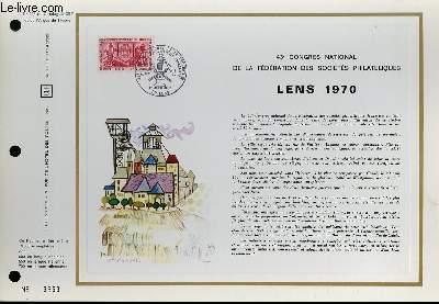 FEUILLET ARTISTIQUE PHILATELIQUE - CEF - N� 136 - 43� CONGRES NATIONAL DE LA FEDERATION DES SOCIETES PHILATELIQUES - LENS 1970