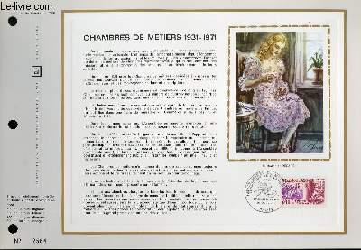 FEUILLET ARTISTIQUE PHILATELIQUE - CEF - N° 181 - CHAMBRES DE METIERS 1931-1971