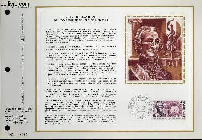 FEUILLET ARTISTIQUE PHILATELIQUE - CEF - N° 185 - CENT CINQUENTENAIRE DE L'ACADEMIE NATIONALE DE MEDECINE