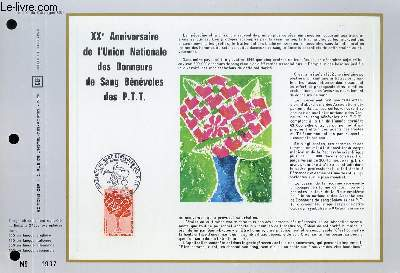 FEUILLET ARTISTIQUE PHILATELIQUE - CEF - N° 199 - 20° ANNIVERSAIRE DE L'UNION NATIONALE DES DONNEURS DE SANG BENEVOLES DES P.T.T.