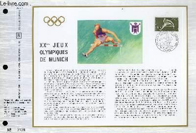 FEUILLET ARTISTIQUE PHILATELIQUE - CEF - N° 208 - 20° JEUX OLYMPIQUES DE MUNICH