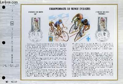 FEUILLET ARTISTIQUE PHILATELIQUE - CEF - N° 210 (Série B) - CHAMPIONNATS DU MONDE CYCLISTE