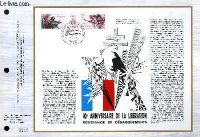 FEUILLET ARTISTIQUE PHILATELIQUE - CEF - N� 723 - 40� ANNIVERSAIRE DE LA LIBERATION RESISTANCE ET DEBARQUEMENTS