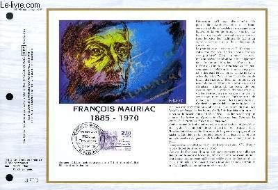 FEUILLET ARTISTIQUE PHILATELIQUE - CEF - N° 761 - FRANCOIS MAURIAC 1885-1970