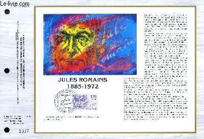 FEUILLET ARTISTIQUE PHILATELIQUE - CEF - N° 763 - JULES ROMAINS 1885 - 1972