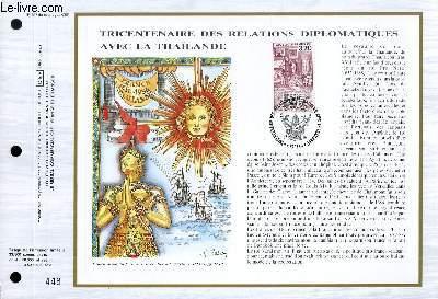 FEUILLET ARTISTIQUE PHILATELIQUE - CEF - N° 797 - TRICENTENAIRE DES RELATIONS DIPLOMATIQUES AVEC LA THAILANDE
