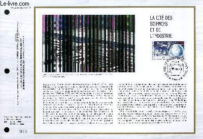 FEUILLET ARTISTIQUE PHILATELIQUE - CEF - N° 809 - LA CITE DES SCIENCES ET DE L'INDUSTRIE
