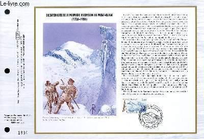FEUILLET ARTISTIQUE PHILATELIQUE - CEF - N° 825 - BICENTENAIRE DE LA PREMIERE ASCENSION DU MONT-BLANC (1786-1986)