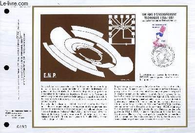 FEUILLET ARTISTIQUE PHILATELIQUE - CEF - N° 834 - 100 ANS D'ENSEIGNEMENT TECHNIQUE 1886-1887 - LES ECOLES NATIONALES PROFESSIONNELLES