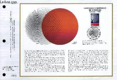 FEUILLET ARTISTIQUE PHILATELIQUE - CEF - N� 835 - CONFERENCE MONDIALE DE L'ENERGIE - CANNES 1986