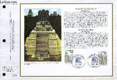 FEUILLET ARTISTIQUE PHILATELIQUE - CEF - N° 842 - MOSQUEE DE BAGERHAT (BANGLADESH) - TEMPLE DE TIKAL (GUATEMALA)