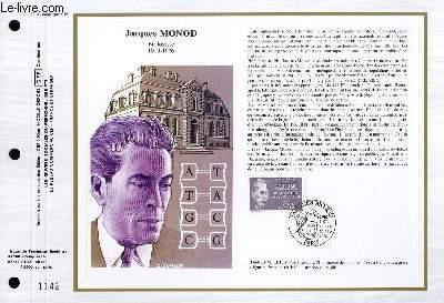 FEUILLET ARTISTIQUE PHILATELIQUE - CEF - N° 852 - JACQUES MONOD - BIOLOGISTE 1910-1976