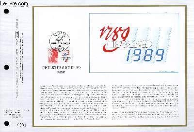 FEUILLET ARTISTIQUE PHILATELIQUE - CEF - N� 853 - 1789-1889-1989 - PHILEXFRANCE 89