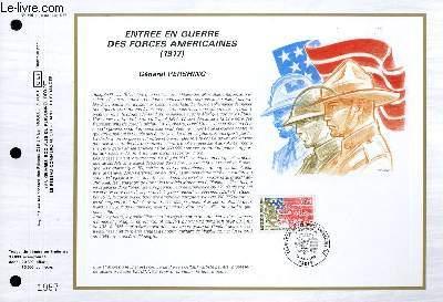 FEUILLET ARTISTIQUE PHILATELIQUE - CEF - N° 866 - ENTREE EN GUERRE DES FORCES AMERICAINES (1917) - GENERAL PERSHING