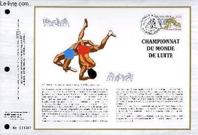 FEUILLET ARTISTIQUE PHILATELIQUE - CEF - N° 874 - CHAMPIONNAT DU  MONDE DE LUTTE