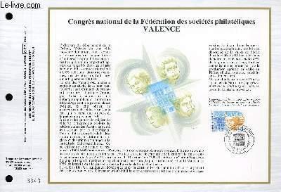 FEUILLET ARTISTIQUE PHILATELIQUE - CEF - N° 908 - CONGRES NATIONAL DE LA FEDERATION DES SOCIETES PHILATELIQUES VALENCE