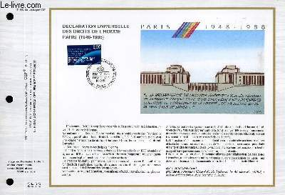 FEUILLET ARTISTIQUE PHILATELIQUE - CEF - N° 932 - DECLARATION UNIVERSELLE DES DROITS DE L'HOMME PARIS (1948-1988)