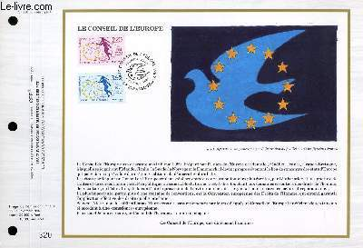 FEUILLET ARTISTIQUE PHILATELIQUE - CEF - N° 936 - LE CONSEIL DE L'EUROPE