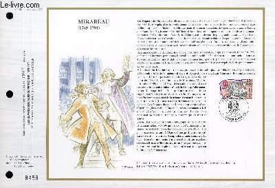 FEUILLET ARTISTIQUE PHILATELIQUE - CEF - N° 939 - MIRABEAU (1749-1791)