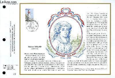 FEUILLET ARTISTIQUE PHILATELIQUE - CEF - N° 957 - MADAME ROLLAND 1754-1793