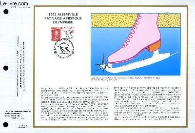 FEUILLET ARTISTIQUE PHILATELIQUE - CEF - N° 978 - 1992 - ALBERTVILLE PATINAGE ARTISTIQUE OLYMPIQUE