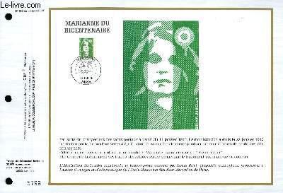 FEUILLET ARTISTIQUE PHILATELIQUE - CEF - N° 980 - MARIANNE DU BICENTENAIRE