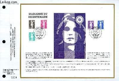 FEUILLET ARTISTIQUE PHILATELIQUE - CEF - N° 985 - MARIANNE DU BICENTENAIRE