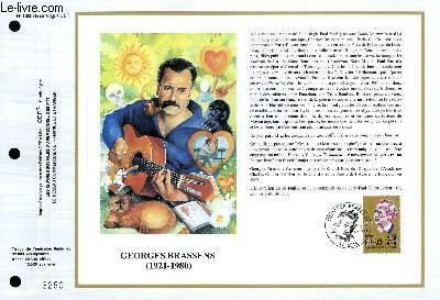 FEUILLET ARTISTIQUE PHILATELIQUE - CEF - N° 1000 - GEORGES BRASSENS 1921-1980