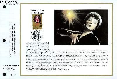 FEUILLET ARTISTIQUE PHILATELIQUE - CEF - N° 1001 - EDITH PIAF 1915-1963