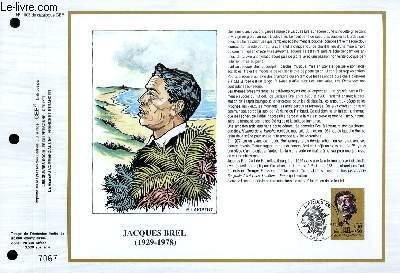 FEUILLET ARTISTIQUE PHILATELIQUE - CEF - N� 1003 - JACQUES BREL 1929-1978