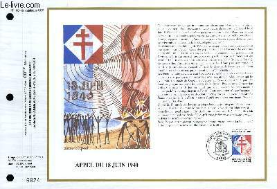 FEUILLET ARTISTIQUE PHILATELIQUE - CEF - N� 1004 - APPEL DU 18 JUIN 1940