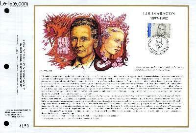 FEUILLET ARTISTIQUE PHILATELIQUE - CEF - N° 1028 - LOUIS ARAGON 1897-1982