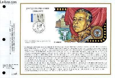 FEUILLET ARTISTIQUE PHILATELIQUE - CEF - N� 1030 - JACQUES PREVERT 1900-1977