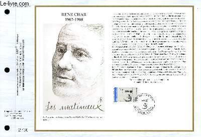 FEUILLET ARTISTIQUE PHILATELIQUE - CEF - N° 1031 - RENE CHAR 1907-1988