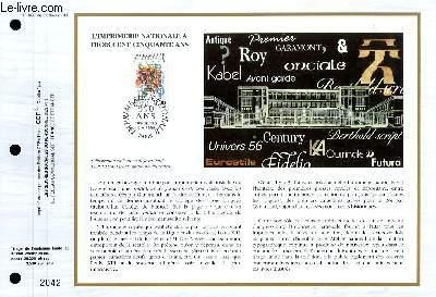 FEUILLET ARTISTIQUE PHILATELIQUE - CEF - N° 1037 - L'IMPRIMERIE NATIONALE A TROIS CENT CINQUANTE ANS