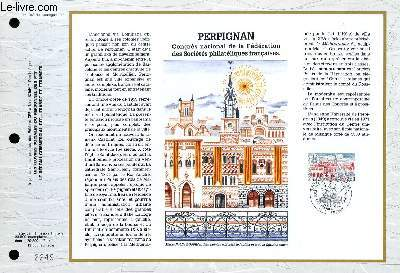 FEUILLET ARTISTIQUE PHILATELIQUE - CEF - N° 1043 - PERPIGNAN - CONGRES NATIONAL DE LA FEDERATION DES SOCIETES PHILATELIQUES FRANCAISES