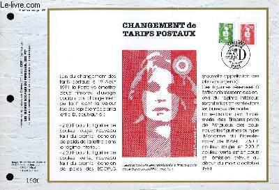 FEUILLET ARTISTIQUE PHILATELIQUE - CEF - N° 1055 - CHANGEMENT DE TARIFS POSTAUX