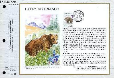 FEUILLET ARTISTIQUE PHILATELIQUE - CEF - N° 1056 - L'OURS DES PYRENEES