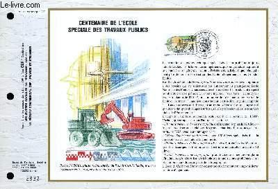 FEUILLET ARTISTIQUE PHILATELIQUE - CEF - N° 1062 - CNETENAIRE DE L'ECOLE SPECIALE DES TRAVAUX PUBLICS