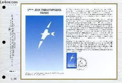 FEUILLET ARTISTIQUE PHILATELIQUE - CEF - N° 1072 - 5° JEUX PARALYMPIQUES TIGNES