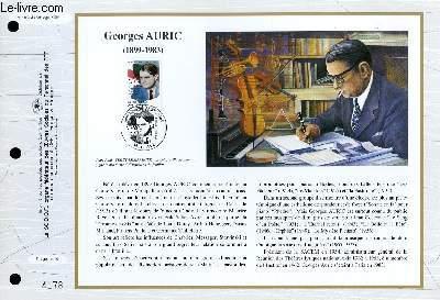 FEUILLET ARTISTIQUE PHILATELIQUE - CEF - N° 1082 - GEORGES AURIC 1899-1983