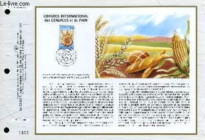 FEUILLET ARTISTIQUE PHILATELIQUE - CEF - N� 1087 - CONGRES INTERNATIONAL DES CEREALES ET DU PAIN