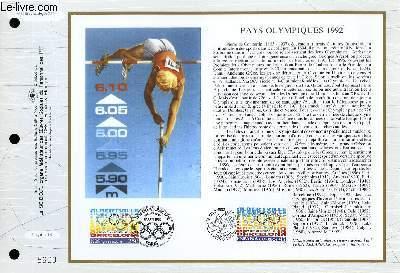 FEUILLET ARTISTIQUE PHILATELIQUE - CEF - N° 1089 - PAYS OLYMPIQUES 1992